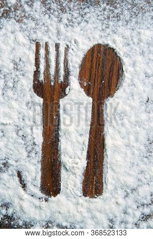 Fork And Spoon Shadow. Fork And Spoon Made Of Sugar Powder.