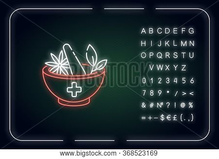 Ayurveda Neon Light Icon. Ayurvedic Treatment. Alternative Medicine. Medicinal Herbs. Outer Glowing