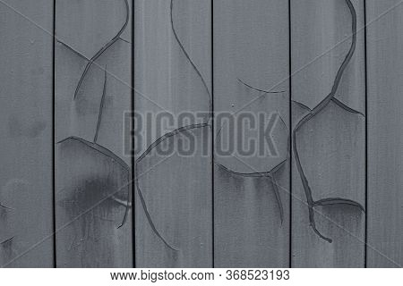 The Texture Of Cracked Paint, Metal Plates Painted Gray, Siding With Huge Cracks And Dents. Backdrop