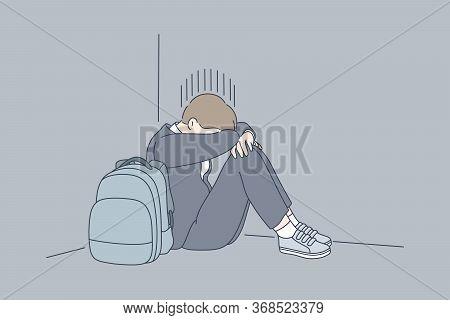 Despair, Frustration, Depression, Mental Stress, Bullying Concept. Young Desperate Frustrated Depres