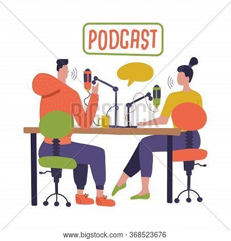 People Recording Podcast In Studio. Radio Host Interviewing Guests On Radio Station Cartoon Characte