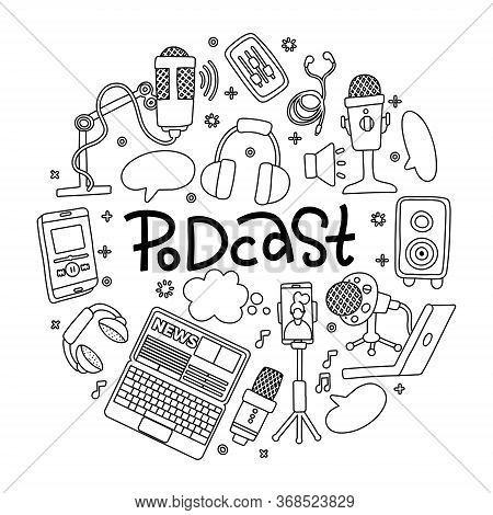 Podcast Doodle Round Badge With Electronic Symbols, Handwritten Lettering. Online Education Concept