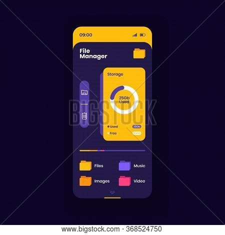 Memory Cleaner Smartphone Interface Vector Template. File Management App Page Dark Design Layout. De