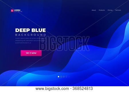 Blue Abstract Background. Landing Page Website Template Abstract Liquid Trendy Shapes. Minimal Backg