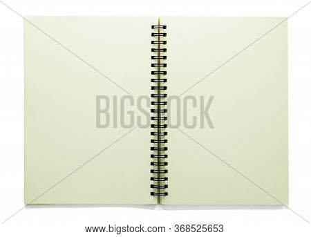 Open Blank Sketchbook Isolated On White Background With Clipping Path