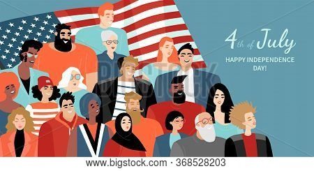 Happy Fourth Of July. American Independence Day Greeting Banner With A Diverse Group Of People With