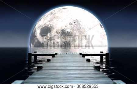 A Wooden Boat Jetty Jutting Out Across Calm Water With A Full Moon Rising On The Horizon At Night -