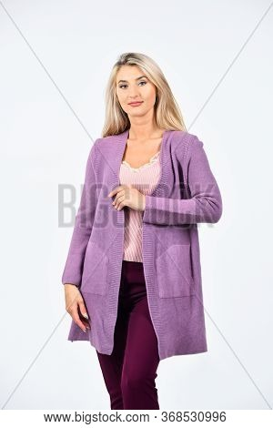 Cozy Casual Style. Female Fashion Style. Pretty Woman With Long Blonde Hair. Sexy Girl Wear Purple C