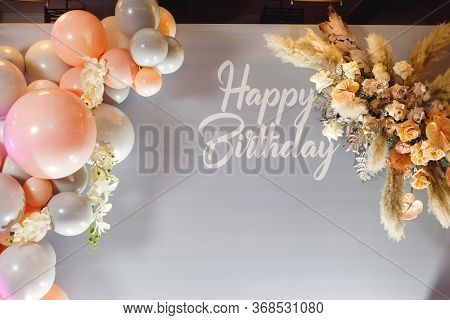 Birthday Photozone With Pampass Grass And Color Ballons