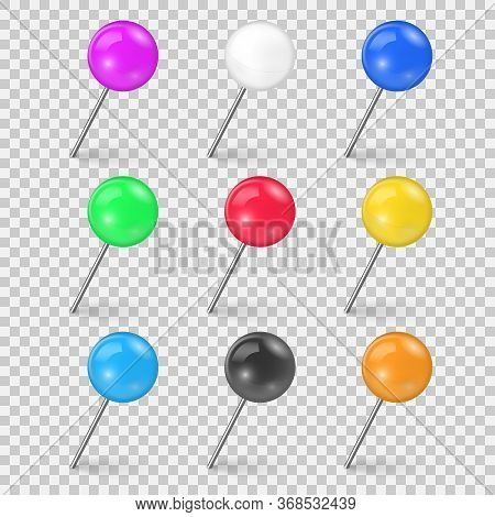 Set Of Colorful Push Pin Tack In Different Foreshortening Isolated On White Background. Sewing Needl