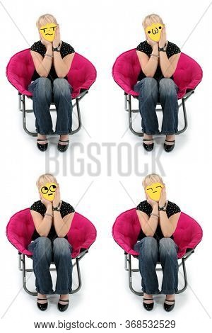 Keyboard Emoji Faced Girl Sitting in Chair: looking, bored, limp lips, crying.