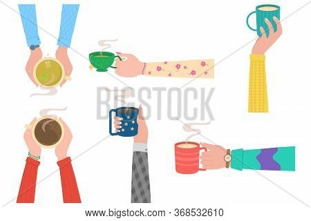 Human Hands With Tea Mug Cup. Human Hands Holding Cups Or Mugs With Hot Drinks, Flat Cartoon Vector