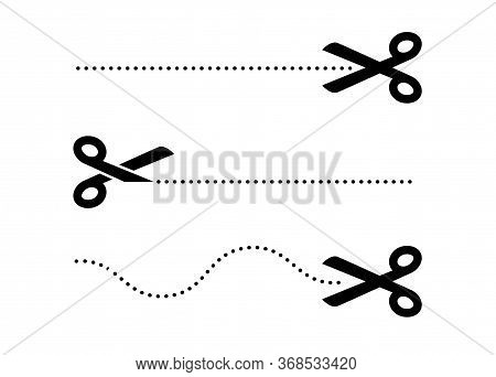 Scissor Cut Line Icon. Black Scissor Border Paper Background Cutout Line Coupon