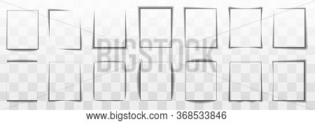Realistic Effect Shadow On Paper. Transparent Paper And Square Shadow Box Objects. The Element For A