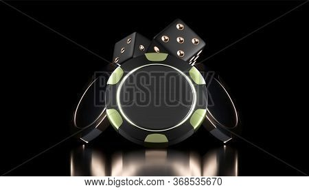 Vector Casino Background. Casino Game 3d Chips And Dice. Online Casino Banner. Black And Gold Realis
