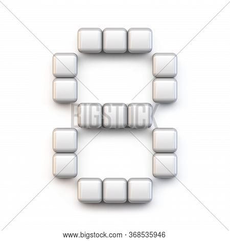 White Cube, Pixel Font Number Eight 8 3d Render Illustration Isolated On White Background