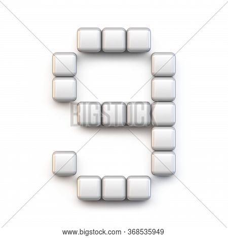 White Cube, Pixel Font Number Nine 9 3d Render Illustration Isolated On White Background