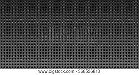 Black Metal Texture Steel Vector Background. Perforated 3d Sheet Metal.technology Background With Ci