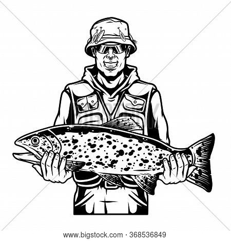 Vintage Monochrome Fishing Template With Smiling Fisherman Holding Big Rainbow Trout On His Arms Iso