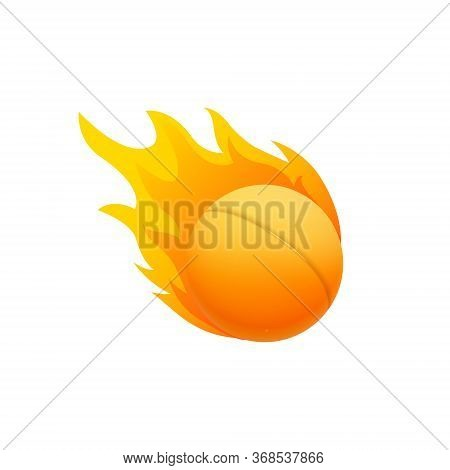 Ping Pong Ball In Fire Flame, Fireball Cartoon Icon. Fast Ping-pong Ball Logo In Motion Isolated