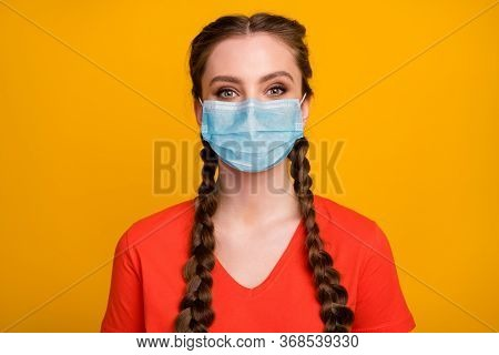 Close-up Portrait Of Her She Nice Attractive Pretty Lovely Healthy Girl Wearing Gauze Mask Air Pollu