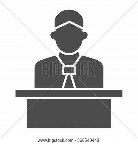 Lecturer Behind The Podium Solid Icon, Business Presentation Concept, Speaker In Uniform Makes Repor