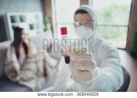 Photo Blurred Focus Of Sick Patient Lady Call Emergency Doc Virologist Collected Blood Probe Flask F