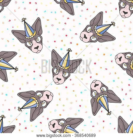 Cute Cartoon Sphynx Cat Face With Party Hat Seamless Vector Pattern. Pedigree Exotic Kitty Breed Dom