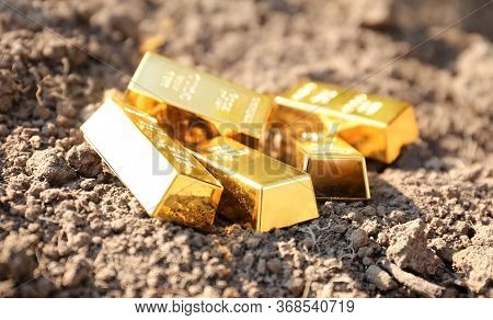 Black Earth Of People As Gold Bars. Land Trade In Countries. The Value Of The State Is Fertile Land.