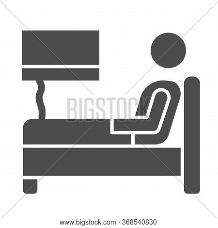 Stay In Bed With Flu Solid Icon, Home Treatment In Covid-19 Concept, Sick Man Lying In Bed Sign On W