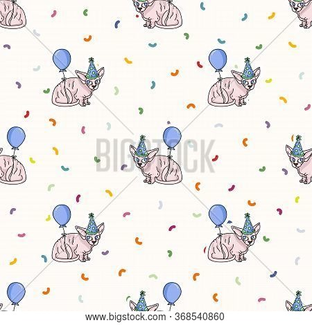 Cute Cartoon Sphynx Kitten With Party Hat Seamless Vector Pattern. Pedigree Exotic Kitty Breed Domes