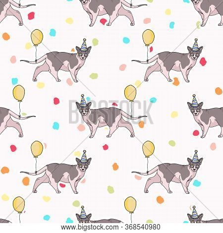 Cute Cartoon Sphynx Cat With Party Hat Seamless Vector Pattern. Pedigree Exotic Kitty Breed Domestic
