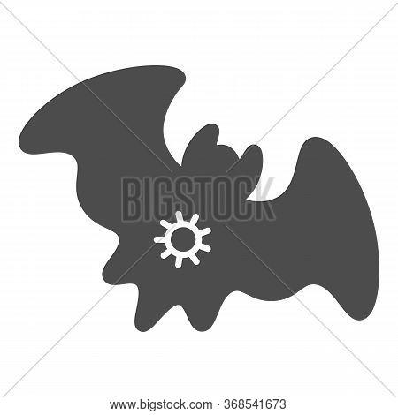 Bat And Virus Transmission Solid Icon, Coronavirus Epidemic Concept, Virus On Bat Sign On White Back