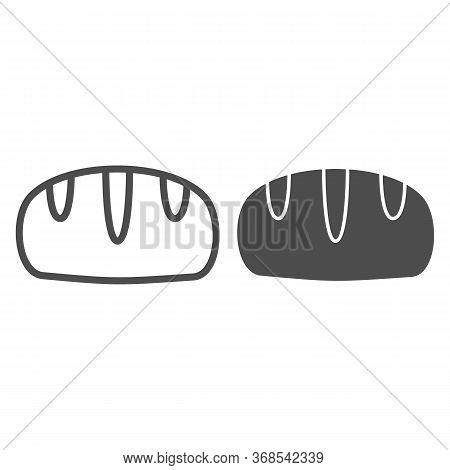Bread Line And Solid Icon, Bakery Concept, Loaf Sign On White Background, Loaf Of Bread Icon In Outl