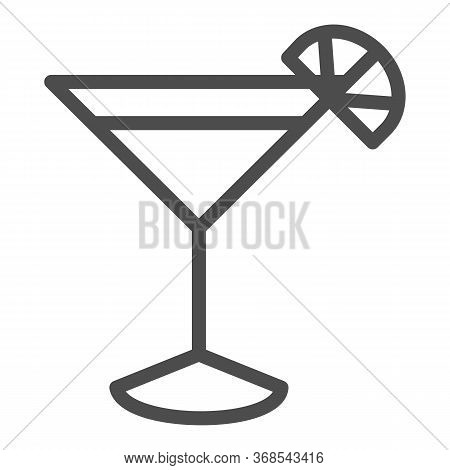 Cocktail Line Icon, Drinks Concept, Martini Cocktail Sign On White Background, Cocktail Glass With L