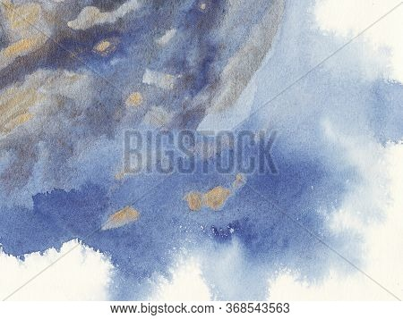 Gold, Navi, Classic Blue, Watercolor Texture Background With Wet Brush Stains, Strokes. Watercolor W
