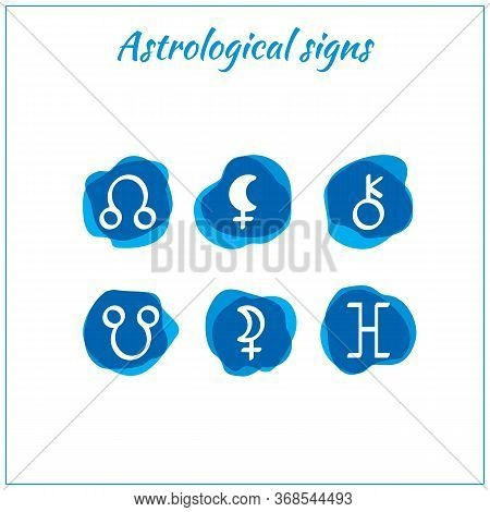 Astrological Icons. Set Of Hand Drawn Watercolor Brush Zodiac Signs. Zodiac Icons Isolated On White