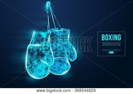 Abstract Silhouette Of A Wireframe Boxer Gloves On The Blue Background. Boxing Sports Equipment. Box