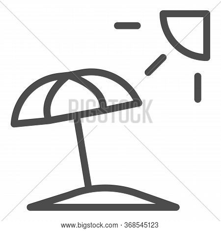 Summer Beach With Umbrella And Sun Line Icon, Summer Concept, Beach Parasol Sign On White Background