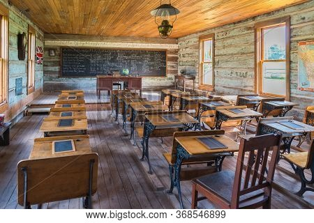 Vernon, British Columbia/canada - June 2, 2018: Inside The Schoolroom At Balmoral School, One Of The