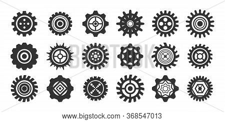 Retro Gears Icon Collection. Cogs And Gears Icon Set, Mechanism Or Machinery Symbol. Can Be Used For
