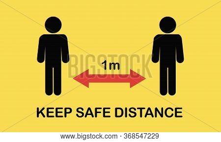Social Distancing Icon. Keep The 1-2 Meter Distance. Coronovirus Epidemic Protective. Vector Illustr