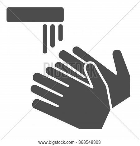 Wash Your Hands Solid Icon, Coronavirus Prevention Concept, Washing Hand Under Tap Sign On White Bac