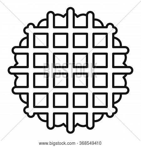 Waffle Cookie Icon. Outline Waffle Cookie Vector Icon For Web Design Isolated On White Background