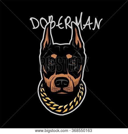 Doberman Head With A Chain On His Neck On A Dark Background. Vector Illustration.