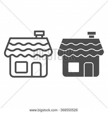 Gingerbread House Line And Solid Icon, Bakery Concept, Gingerbread Cookie Sign On White Background,