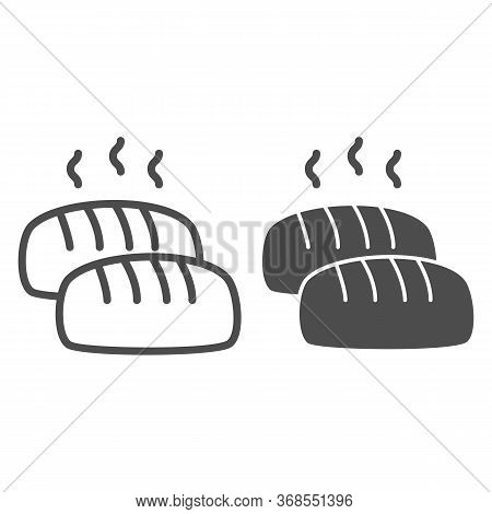 Hot Loaf Line And Solid Icon, Bakery Concept, Bread With Steam Sign On White Background, Loaf Of Bre