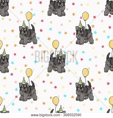 Hand Drawn Cute Schnauzer Puppy With Party Hat Seamless Vector Pattern. Purebred Pedigree Dog Celebr