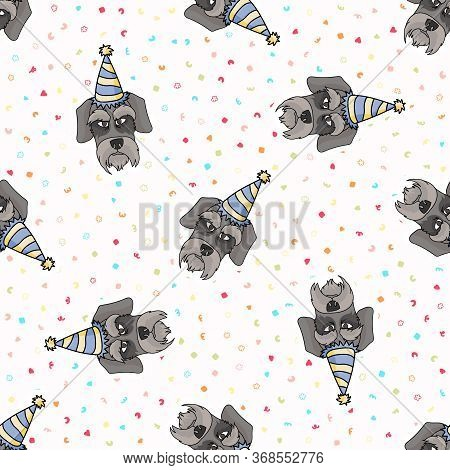 Hand Drawn Cute Schnauzer Dog Face With Party Hat Seamless Vector Pattern. Purebred Pedigree Puppy C