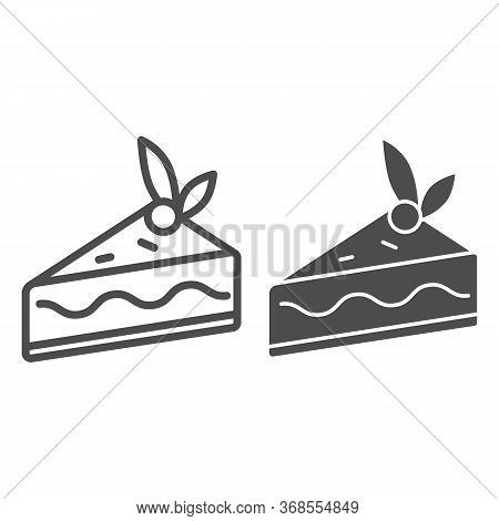 Cake Slice Line And Solid Icon, Confectionary Concept, Cheesecake Sign On White Background, Piece Of